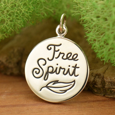 Sterling Silver Free Spirit Charm with Feather - Poppies Beads n' More
