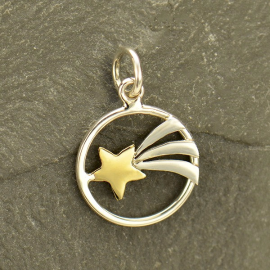Sterling Silver Shooting Star Charm with Bronze - Poppies Beads n' More