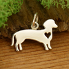 Sterling Silver Silhouetted Dachshund Charm - Poppies Beads n' More
