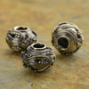 Sterling Silver Slider with Fine Wire Swirls and Granulation on Oxidized Base Bead - Poppies Beads n' More