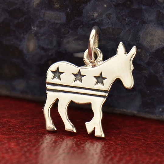 Sterling Silver Democratic Donkey Charm with Stars and Stripes - Poppies Beads n' More