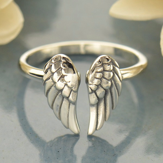 Sterling Silver Adjustable Wings Ring - Poppies Beads n' More