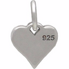Sterling Silver Small Heart Charm with XO Hug and Kiss - Poppies Beads n' More
