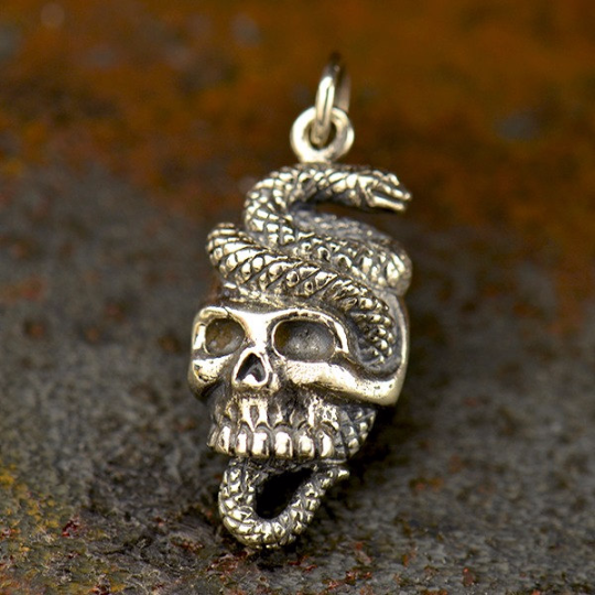 Sterling Silver Snake and Skull Pendant - Halloween Charms - Poppies Beads n' More