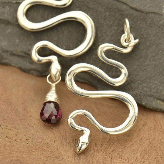Sterling Silver Snake Pendant - Poppies Beads n' More