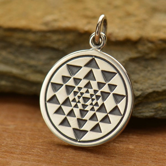 Sterling Silver Sri Yantra Charm - Poppies Beads n' More