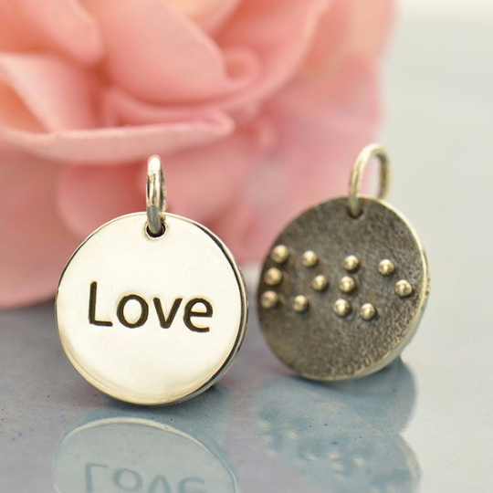 Sterling Silver Braille Love Charm - Poppies Beads n' More