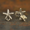 Sterling Silver Starfish Post Earrings with Loop - Poppies Beads n' More