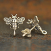 Sterling Silver Bumble Bee Post Earrings with Loop - Poppies Beads n' More