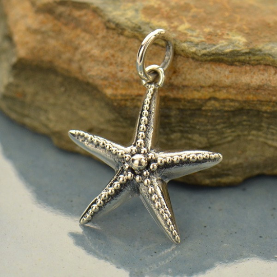Sterling Silver Starfish with Granulation Charm - Poppies Beads n' More