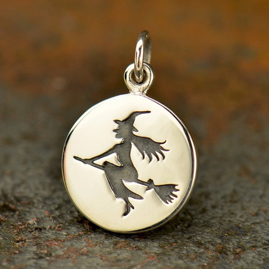 Sterling Silver Witch Charm - Halloween Charms - Poppies Beads n' More
