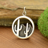 Sterling Silver Cactus and Desert Mountain Charm - Poppies Beads n' More