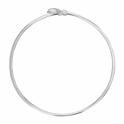Heart Crossover Bangle - Sterling Silver - Poppies Beads n' More