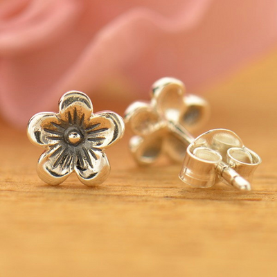 Sterling Silver Cherry Blossom Post Earrings - Poppies Beads n' More
