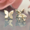 Sterling Silver Tiny Butterfly Post Earrings - Poppies Beads n' More