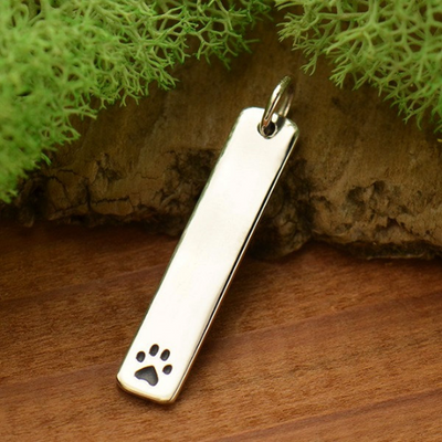 Sterling Silver Long Paw Print Stamping Blank - Poppies Beads n' More