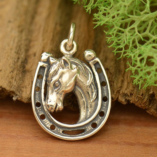 Sterling Silver Lucky Horse in Horseshoe Charm - Poppies Beads n' More