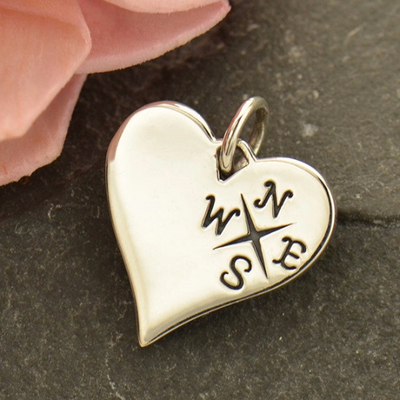 Sterling Silver Compass Heart Charm - Poppies Beads n' More
