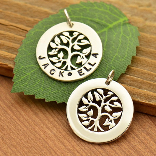 Sterling Silver Tree of Life Stamping Blank Pendant - Poppies Beads n' More