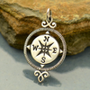 Sterling Silver Compass Pendant - Poppies Beads n' More