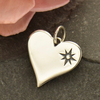 Sterling Silver Compass Symbol Heart Charm - Poppies Beads n' More