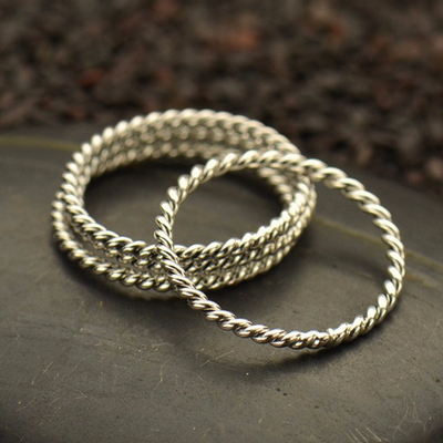 Sterling Silver Twisted Wire Stacking Ring - Poppies Beads n' More