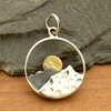 Sterling Silver Mountain Range Pendant with Bronze Sun - Poppies Beads n' More