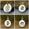Sterling Silver Triathlon Fitness Jewelry Charms - Poppies Beads n' More