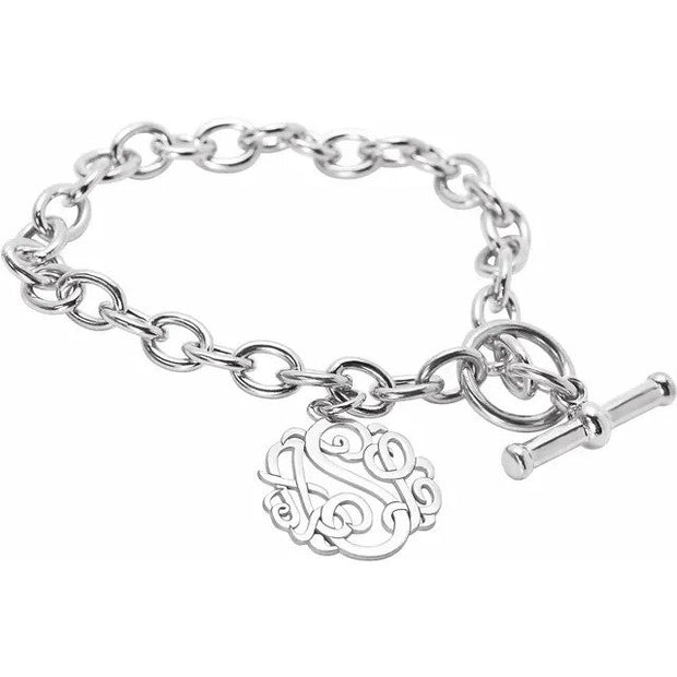 Sterling Silver Monogram 3 Letter Script Charm Bracelet with Toggle Clasp - Poppies Beads n' More