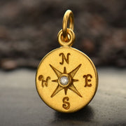 Compass Charm with 1-pt Diamond, - Poppies Beads n' More