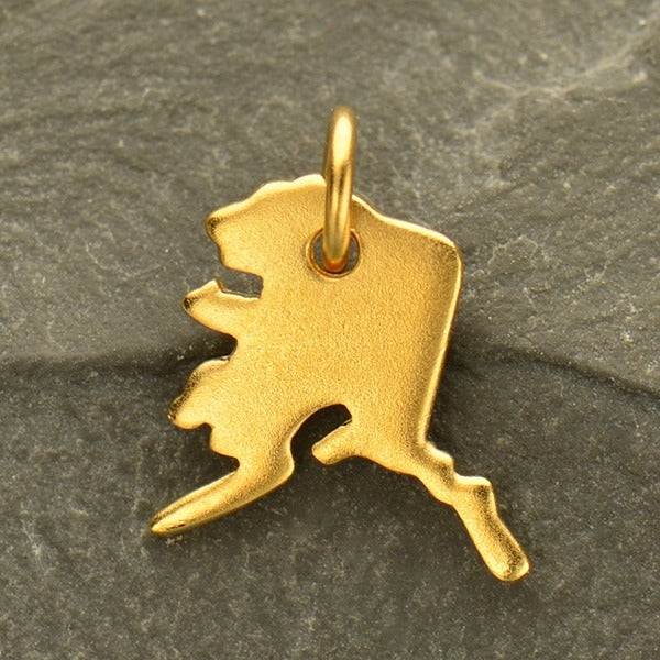 Satin 24K Gold Plated Sterling Silver State Charms, - Poppies Beads n' More