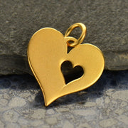 Heart Charm with One Heart Cutout, - Poppies Beads n' More