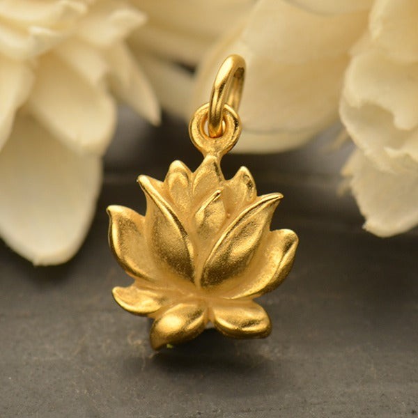 Medium Textured Blooming Lotus Charm, - Poppies Beads n' More