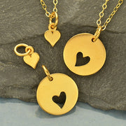 Round Charm with Heart Cutout and Heart Set,