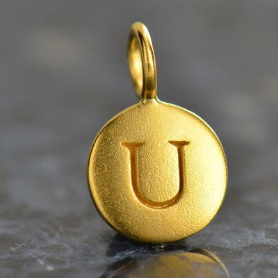 Gold Plated Sterling Silver Letter Disk Charms - Poppies Beads n' More