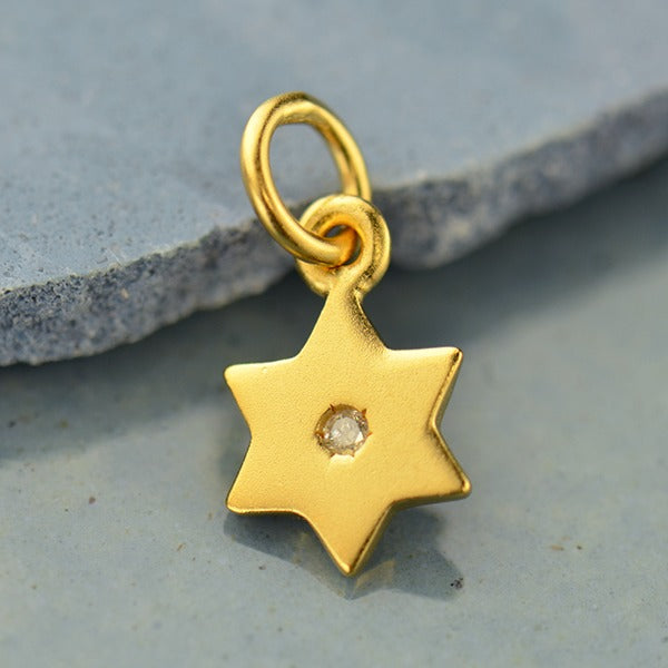 Tiny Sterling Silver Star of David Charm with Genuine 1 Point Diamond - Poppies Beads n' More