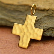 Hammered Finish Cross Charm, - Poppies Beads n' More