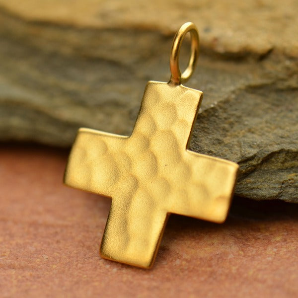 Hammered Finish Sterling Silver Cross Charm - Poppies Beads n' More