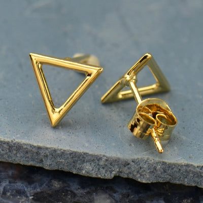 Rose Gold Stud Earrings - Triangle in 18K Rose Gold Plate - Poppies Beads n' More