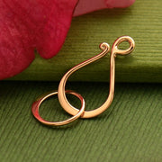 Rose Gold Clasp - Med Flat Hook and Eye in Rose Gold Plate - Poppies Beads n' More
