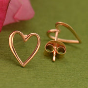 Rose Gold Heart Post Earrings in 18K Rose Gold Plate - Poppies Beads n' More