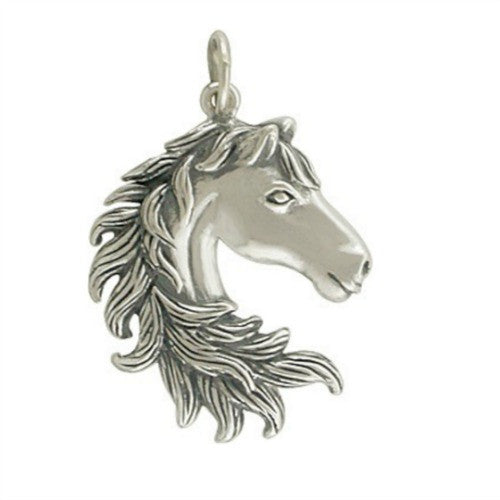 Sterling Silver Horse Head Charm - Poppies Beads n' More
