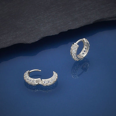Sterling Silver Hoop Huggie Earrings with Nano Gems