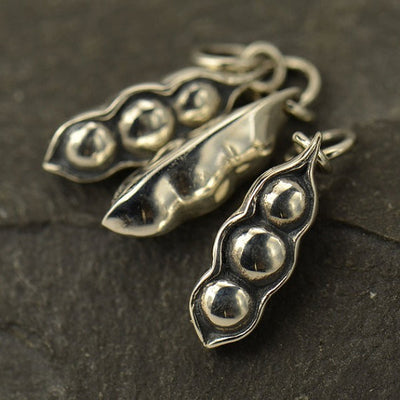 Sterling Silver Three Peas in a Pod Charm - Poppies Beads n' More
