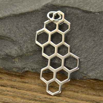 Sterling Silver Honeycomb Charm - Poppies Beads n' More