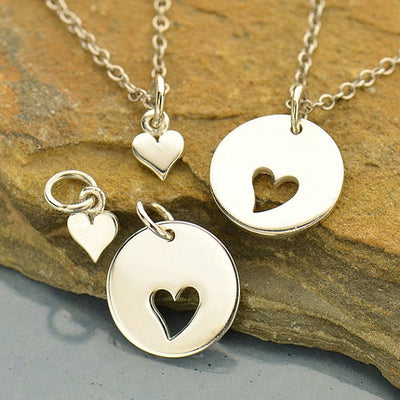 Sterling Silver Mother Daughter Disk with Cutout Heart Set - Poppies Beads n' More