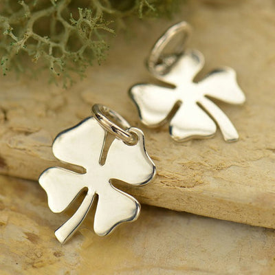 Sterling Silver Medium Four Leaf Lucky Clover Charm - Poppies Beads n' More