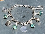 Sterling Silver Oxidized Travel Charm Bracelet - Poppies Beads n' More