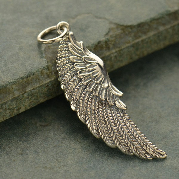 Large Sterling Silver Angel Wing Charm - Poppies Beads n' More