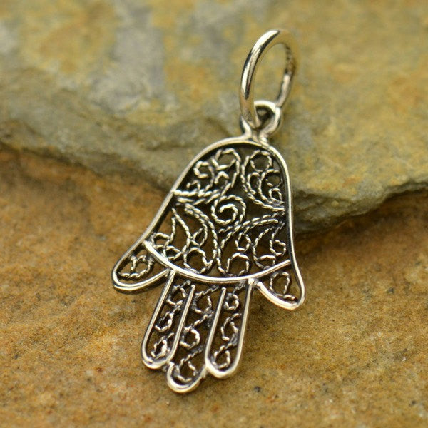 Sterling Silver Filigree Hamsa Hand - Poppies Beads n' More